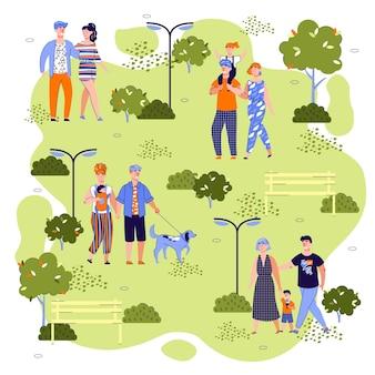 Families walking in summer park -
