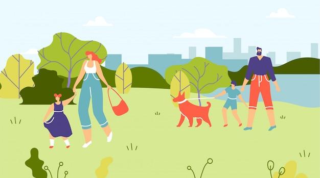 어린이와 강아지 공원에서 산책하는 가족.