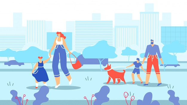 Families with children and animals walk in city.