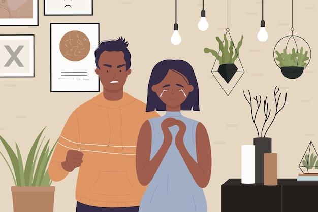 Семейное насилие пара людей ссорится сердитый муж кричит на ссору жены