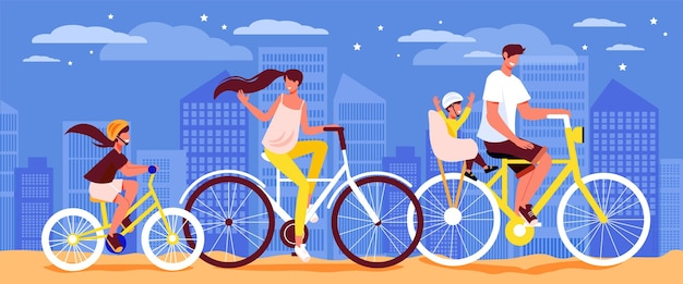 Family active holidays bicycle outdoor composition with group of human characters riding bikes of different size illustration