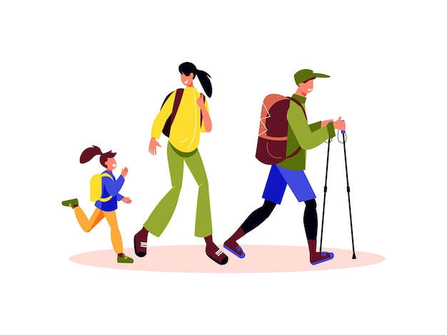 Family active holidays composition with characters of daughter mother and father with walking sticks