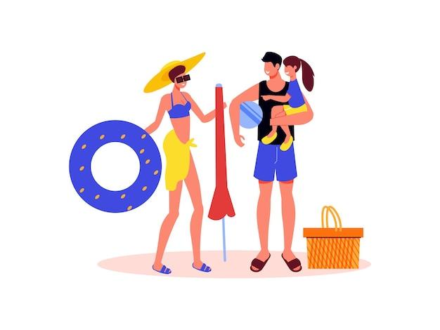 Composizione vacanze attive per famiglie con personaggi dei membri della famiglia con ombrellone e anello gonfiabile