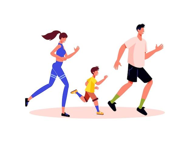 子供と一緒にジョギングする親のキャラクターと家族のアクティブな休日の構成