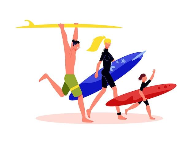 Composizione di vacanze attive in famiglia con personaggi di genitori e bambini che tengono tavole da surf