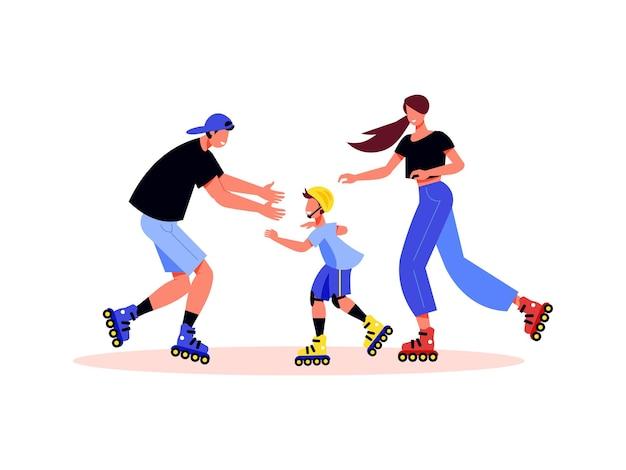 Composizione di vacanze attive in famiglia con personaggi di genitori e figlio su pattini a rotelle
