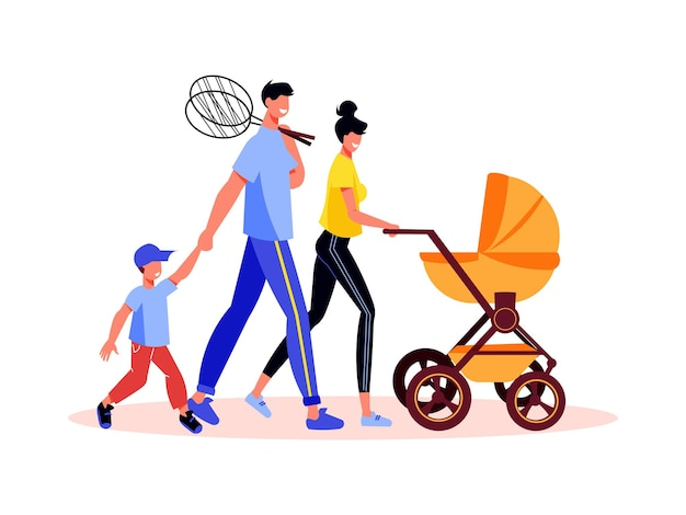 Family active holidays composition with characters of parents with kids tennis rackets and baby stroller
