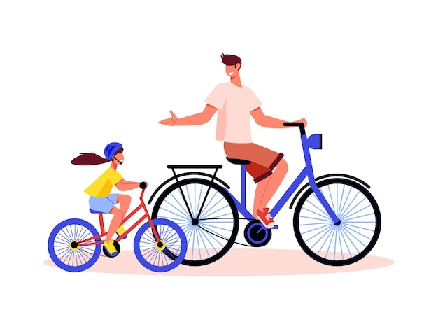 Family active holidays composition with father riding bicycle with daughter on small bike