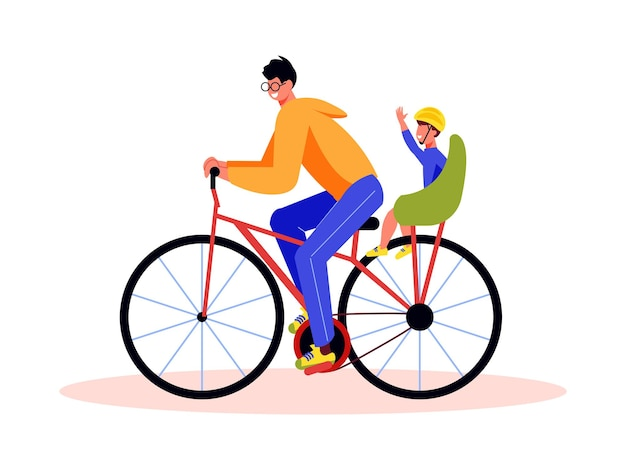 Family active holidays composition with man riding bicycle with baby in chair