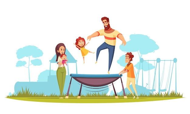 Family active holidays father with daughter during jumping on trampoline mom with kids as spectators