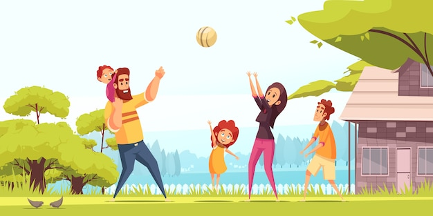 Family active holidays happy parents with kids during playing ball at summer outdoors cartoon