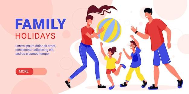 Family active holidays horizontal banner illustration
