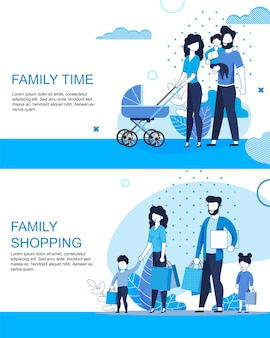 Family active time and shopping flat banner template set