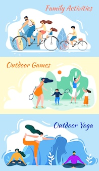Family activities. outdoor games. yoga practice