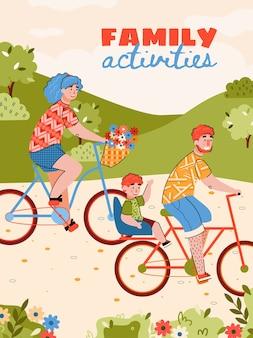 Плакат семейных мероприятий с иллюстрацией шаржа семейной езды на велосипеде