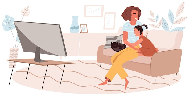 Family activity concept in flat design. hugging mother and daughter watching movie or tv together while sitting on sofa in living room. childhood and motherhood, people scene. vector illustration