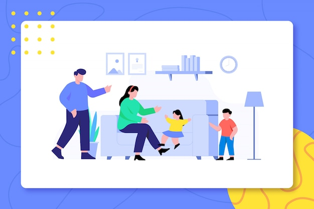 Family activity in livingroom together design illustration