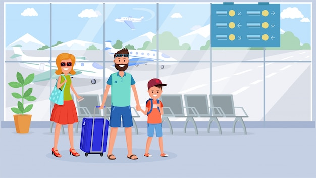 Family in airport terminal flat