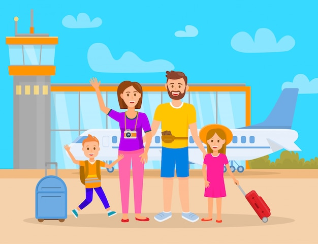 Family in airport terminal vector illustration.