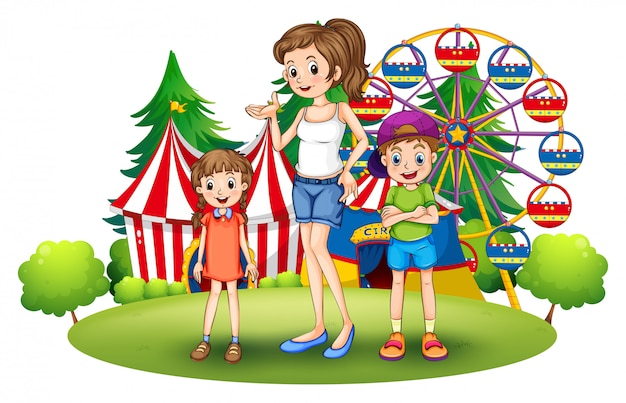 A family at the amusement park with a ferris wheel