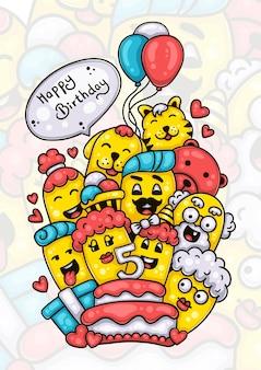 어린 소녀의 다섯 번째 생일을 축하하는 가족과 친구들 손으로 그린 낙서 작품