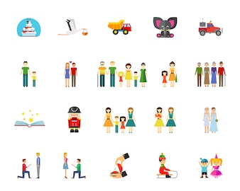 Family and generation icon set