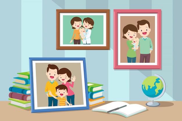 フレーム内の家族と息子の写真