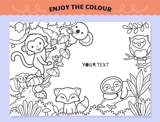 아이들을 위해 색칠하는 가족 동물