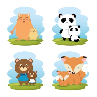 Family animals group characters vector illustration design