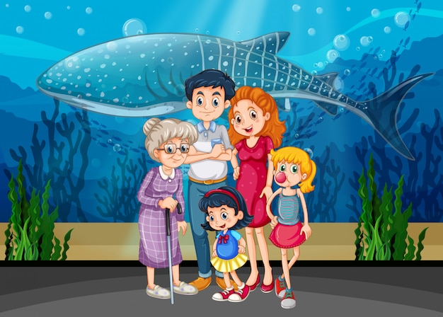Family in aquarium scene or background