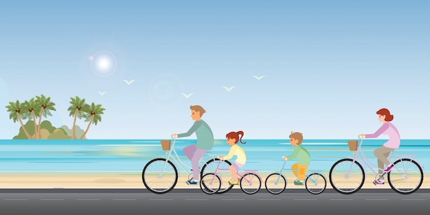 Family are riding on bicycles on beach background.