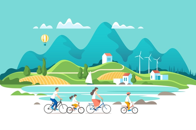 Family are riding on bicycles on the natural landscape background