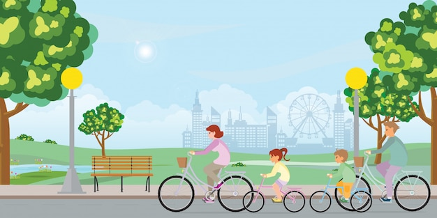 Family are riding on bicycles in public park landscape .