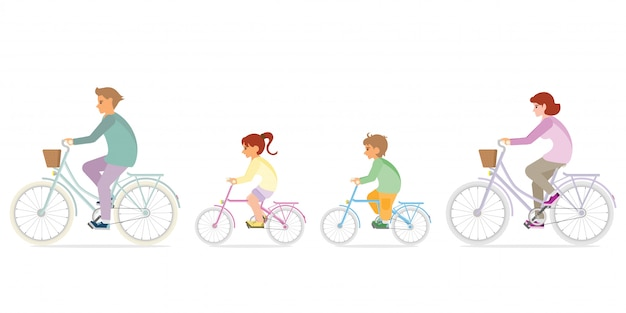 Family are riding on bicycles  on white.