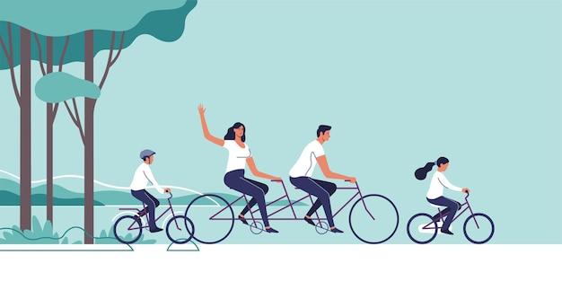 가족은 자연 경관 배경에 자전거를 타고 있습니다.
