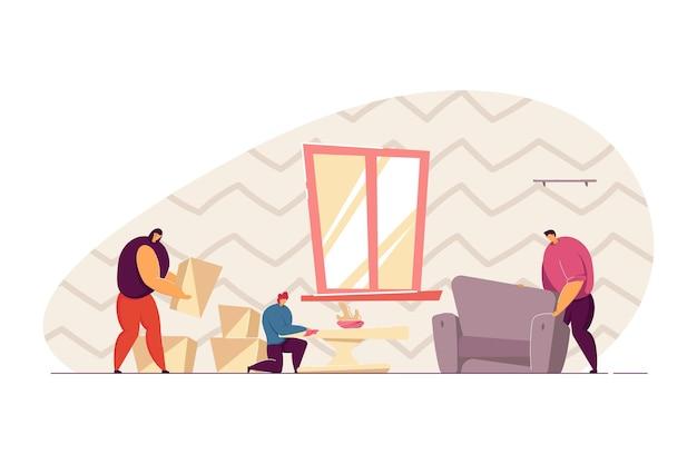 新しい家のフラットベクトルイラストに家具を配置する家族。家を建てたり掃除したりする人々。バナー、ウェブサイトのデザイン、またはランディングウェブページの移動、決済の概念