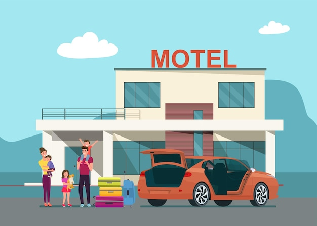 The family arrives at the motel and unloads their luggage from the trunk of their car.  flat style illustration.