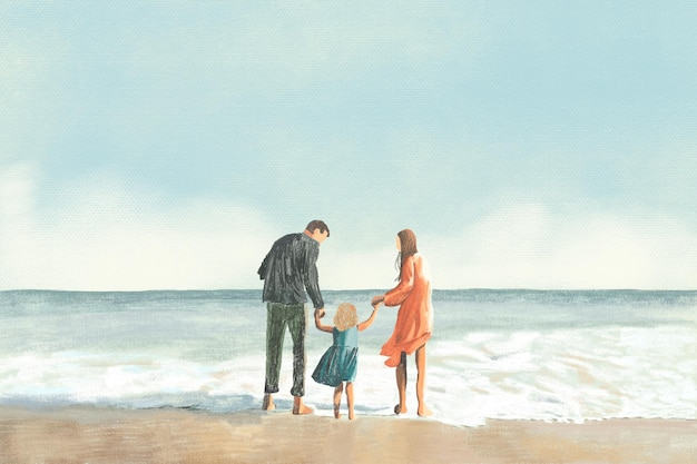 ビーチの背景色鉛筆イラストで家族