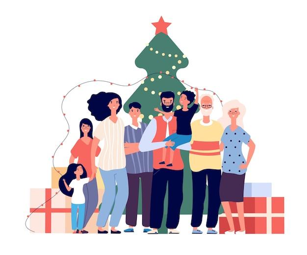 クリスマスツリーの家族
