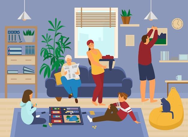 家にいる家族。ボードゲームをしている子供たち、祖母は新聞を読み、母親は洗濯をし、父親は絵を掛けています。リビングルームのインテリア。家にいる。ホームアクティビティ。平らな