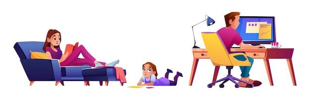 Семья дома родители и девочка ребенок рисунок