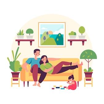 Семья дома отдыхает