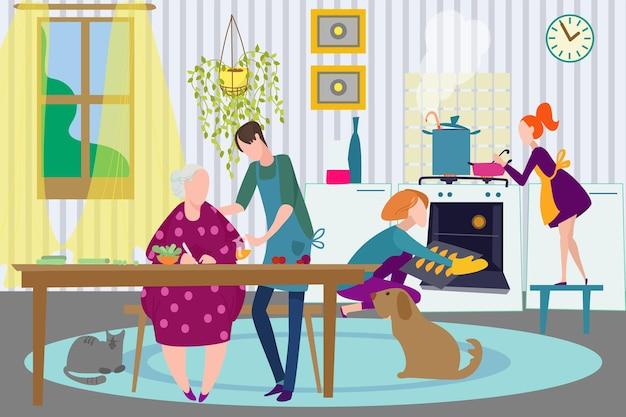 집에서 가족이 함께, 벡터 삽화입니다. 행복한 할머니, 어머니, 아버지, 꼬마 캐릭터는 부엌에서 저녁을 요리하고, 여자는 오븐을 사용합니다.