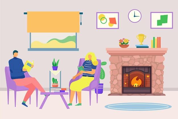 집 벡터 일러스트 레이 션 플랫 커플 캐릭터에서 가족 벽난로 남자 여자 읽기 책 토게 근처에 앉아...