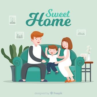 집에서 가족