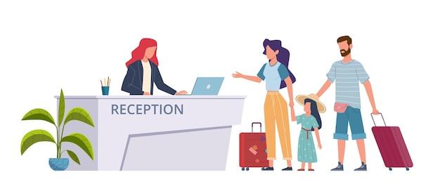 호텔 리셉션에서 가족입니다. 호스텔 관광객, 여행 가방을 가진 손님, 등록 서비스를 확인하십시오. 수하물 예약실이 있는 여자 남자와 아이. 로비 벡터 평면 만화 개념에서 여행자
