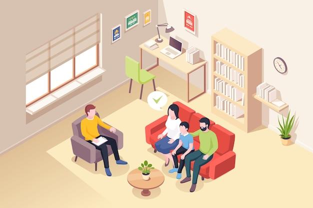 Семья у психолога консультирует изометрические иллюстрации людей у психолога консультанта
