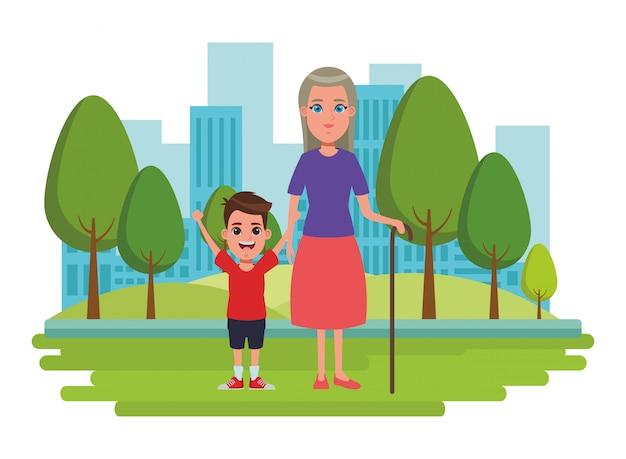 Family avatar cartoon character portrait