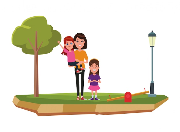 Family avatar cartoon character portrait