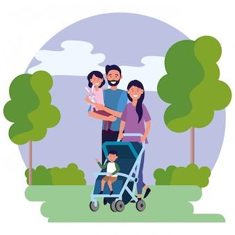 Family avatar cartoon character